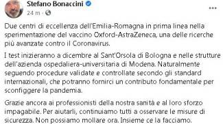 Vaccino anti Covid, il post Facebook di Bonaccini