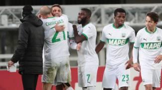 Il Sassuolo festeggia il 2-0 di Berardi