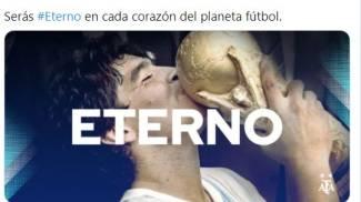 La dedica della Federcalcio Argentina a Maradona