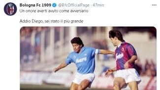 Il tweet del Bologna per ricordare Diego Maradona