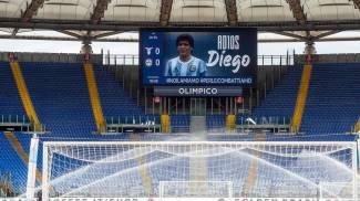 L'omaggio a Maradona all'Olimpico (Ansa)