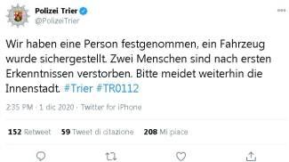 Il tweet della polizia tedesca