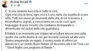 Il post di Andrea Bocelli con il video delle Grotte di Frasassi