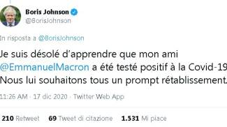 Il tweet di Boris Johnson per Macron