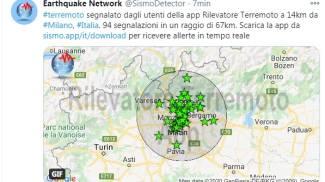 Le prime segnalazioni del terremoto a Milano