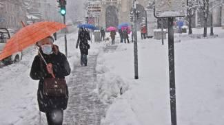 Nevicata a Bergamo (Ansa)