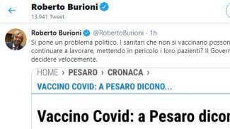 Il tweet di Burioni sui medici che rifiutano il vaccino a Pesaro