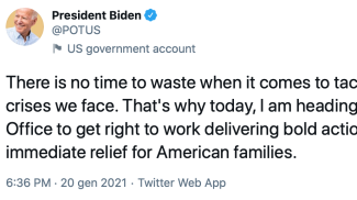 Il primo tweet di Joe Biden