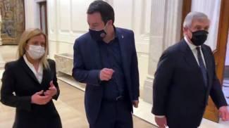 Meloni, Salvini e Tajani al Quirinale (Ansa)