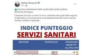 Stefano Bonaccini commenta la classifica Demoskopika
