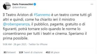 Il tweet del ministro Dario Franceschini