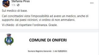 Il post su Fb della sindaca Stefania Piras