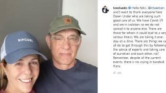 Il post di Tom Hanks su Instagram insieme alla moglie