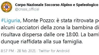 Ritrovata la bimba scomparsa a Ventimiglia