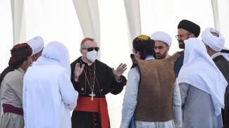 Il cardinale Pietro Parolin all'incontro interreligioso 8Ansa)