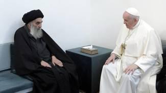 L'ayatollah Ali al-Sistani e Papa Francesco (Ansa)
