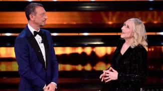 Amadeus e Giovanna Botteri a Sanremo 2021 (Ansa)