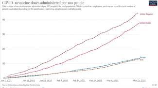 Il grafico del numero dei vaccini per 100 cittadini