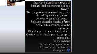 Il post su storie di Instagram di Nicolò Pirlo dedicato a Daniel Guerini