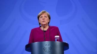 Angela Merkel dopo il Consiglio europeo (Ansa)