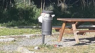 Cestini colmi di rifiuti alla Valle Benedetta