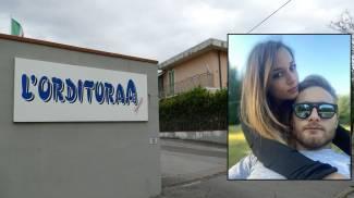 Il luogo della tragedia; nel riquadro, Luana D'Orazio e Alberto Orlandi