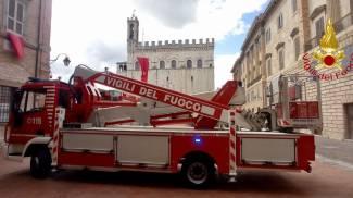 Gubbio, verifiche dei vigili del fuoco dopo la scossa di terremoto