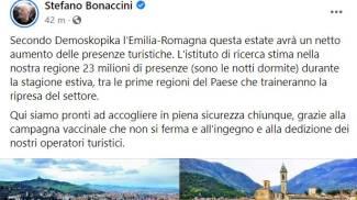 """Emilia Romagna e turismo, Bonaccini: """"Boom di presenze questa estate"""""""
