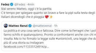 La replica di Fedez a Renzi su Twitter (Ansa)