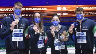 Alessandro Miressi, Margherita Panziera, Elena Di Liddo e Nicolo Martinenghi (Ansa)