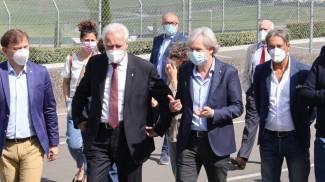 Eugenio Giani all'inaugurazione dell'hub in autodromo