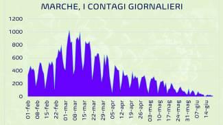 Covid, il grafico dei contagi nelle Marche