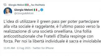 Il tweet di Giorgia Meloni