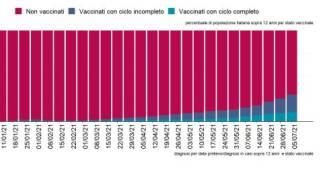 Le percentuali dei non vaccinati e dei vaccinati tra i contagiati