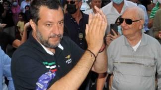 Il leader della Lega Matteo Salvini, ieri a Ferrara