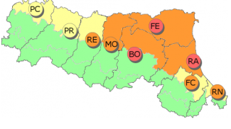La mappa del rischio calore fornita da Arpae Emilia-Romagna