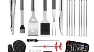 Set di 30 utensili da griglia per barbecue su amazon.com