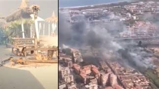 Inferno a Catania: a fuoco il lido le Capannine. Fumo sulla città