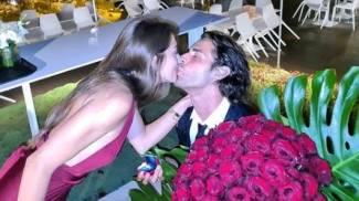 Gimbo Tamberi bacia la fidanzata Chiara Bontempi (da Instagram)