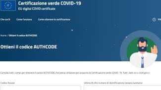 La schermata per il codice Authcode