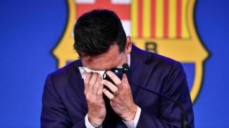 Messi in conferenza stampa (Ansa)