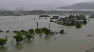 Inondazioni in Giappone (Ansa)