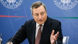 Il Presidente del Consiglio Mario Draghi in conferenza stampa (Ansa)