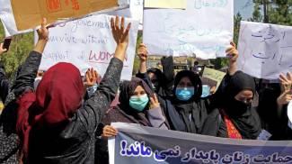La protesta delle donne ad Herat (Ansa)