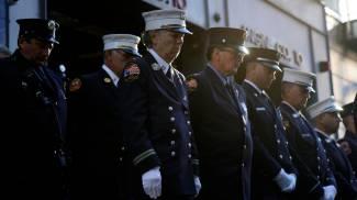 I vigili del fuoco di New York a Ground Zero (Ansa)
