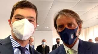Il presidente della Regione con Roberto Mancini, testimonial vincente delle Marche