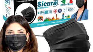 50 Mascherine Chirurgiche Nere su amazon.com