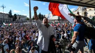 Giuliano Castellino alla manifestazione no Green Pass
